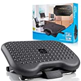 AllDib Adjustable Under Desk Footrest - Ergonomic Black Foot Rest with 3 Height Position - 30 Degree Tilt Angle Adjustment for Home, Office, with Massage Surface for Improved Circulation and Posture