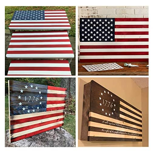 American Flag Star Stencil Templates - 6 Pack 50 Stars 1776 13 Stars Flag Stencils for Painting on Wood and Walls…  