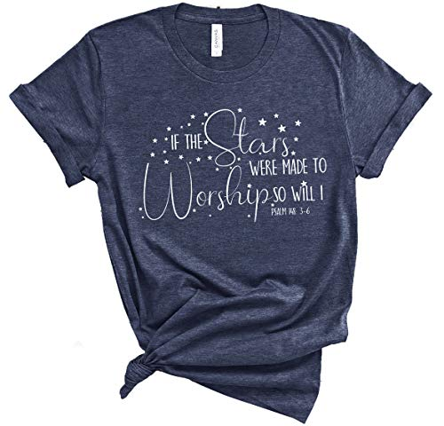 Faith T-Shirts   Christian T-Shirts   Casual Short Sleeve Graphic Tops (Blue_Stars Meant to Worship, Medium)