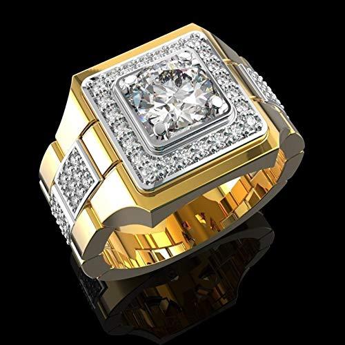 JDG Reloj de Diamante Anillo de Hombre Anillo de Compromiso de Doble Color de Oro (Color : Gold, Size : 12th)