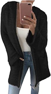 Womens Solid Color Long-Sleeve Open Front Hoodie Knit Sweater Cardigan
