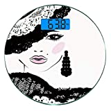 Digitale Präzisionswaage für das Körpergewicht Runde Teen Ultra dünne ausgeglichenes Glas-Badezimmerwaage-genaue Gewichts-Maße,Barockes abstraktes Frauen-Gesicht und gemusterter Hut...