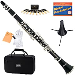 "High-grade black body with durable nickel plated keys Key of Bb (B Flat) clarinet with inline trill keys with adjustable thumb rest Includes: hard-shell case, mouthpiece, a box of 10 reeds (Size 2.5""), cork grease, cleaning cloth, and a pair of glove..."
