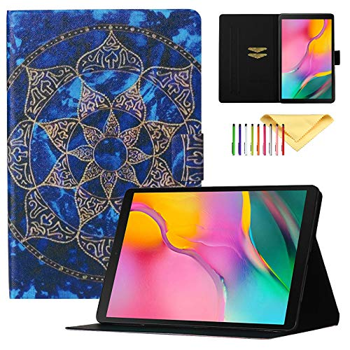 Galaxy Tab A 10.1 2019 Case T510 T515, Uliking PU Leather Book Folio Case Cover for Samsung Galaxy Tab A 10.1 Inch 2019 Tablet, Flip Case With Built In Stand & Card Slots, Blue Mandala