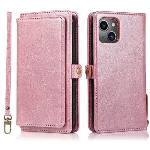 Funda para iPhone 13 Mini Desmontable magnética, 2 en 1 con Juego de Tarjetas multifunción y Función de Soporte Plegable Case para iPhone 13 Mini 5.4 Inch 2021, Oro Rosa