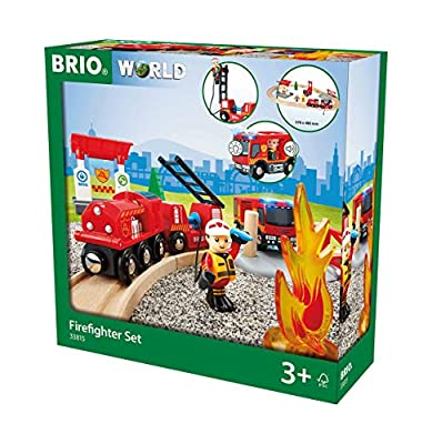 BRIO 33815 Rescue Firefighter Set | 18 Piece Train Toy with a Fire Truck, Accessories and Wooden Tracks for Ages 3 and Up