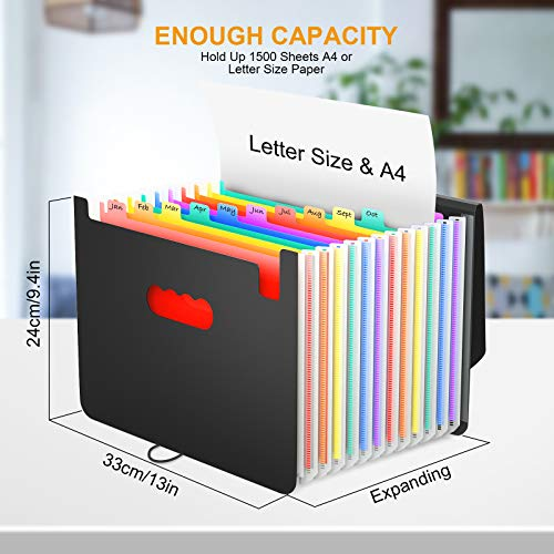Accordian File Organizer, 12 Pockets Expanding File Folder with Expandable Cover/Portable A4 Letter Size Filing Box, Accordion Paper Document Coupon Organizer, Plastic Folder Organizer Colored Labels Photo #6
