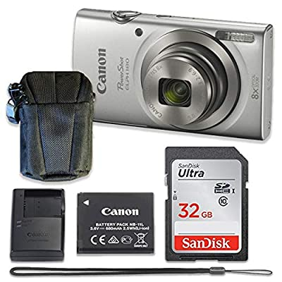 Canon PowerShot ELPH 180 Digital Camera (Silver) with 32GB Memory + Case (Renewed) from Canon