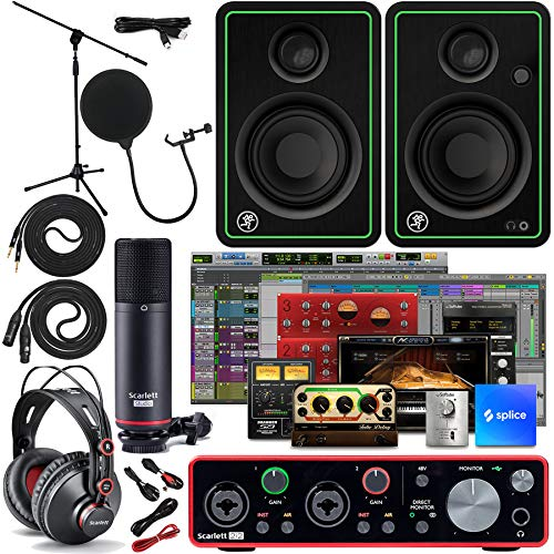 """Focusrite Scarlett 2i2 2x2 USB Audio Interface Full Studio Bundle with Creative Music Production Software Kit and CR3X Pair Studio Monitors and 1/4"""" Instrument Cables"""