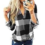 NoBrand T-Shirt à col en V pour Femmes T-Shirt à Carreaux en Treillis Tops Lady T-Shirt à Manches Longues Tops Plus Size S-5XL