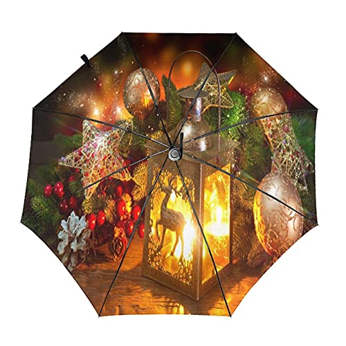 Navidad linterna viaje paraguas plegable portátil compacto ligero diseño automático y alta resistencia al viento