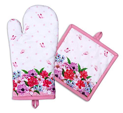 AMOUR INFINI Ofenhandschuh und Topflappen Set Spring Floral Design | 100% Baumwolle maschinenwaschbar | Ofenhandschuh und Hot Pad mit Aufhängeschlaufe | Gesteppter Liner für Hitzebeständigkeit