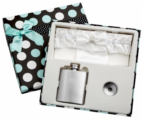 3 Piece Flask Set - White Garter Belt, 3 oz Flask and Funnel - Front Engravable for Personalized Gift - Stainless Steel, Screw-On Cap, Leakproof - Gift Box Included