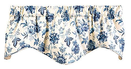 Window Treatments Valance Curtains Kitchen Window Valances or Living Room Blue and Off-White