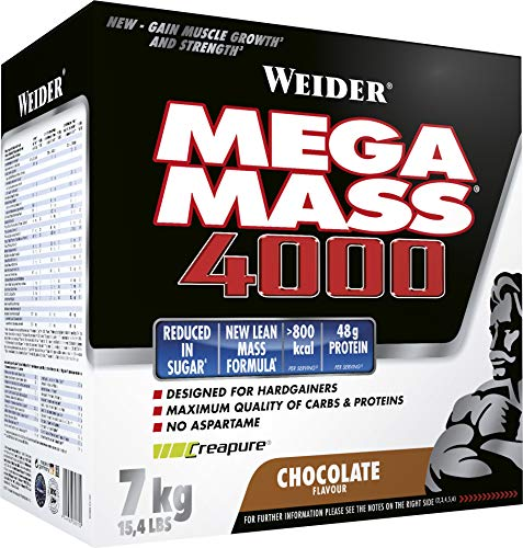 Weider Mega Mass 4000 Weight Gainer Shake zum Zunehmen, Schokolade, mit Protein,Creapure Kreatin Monohydrat,komplexen Kohlenhydraten,Vitaminen und Mineralstoffen – der perfekte Muskelaufbau Shake 7kg