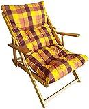 Poltrona Sedia Sdraio Relax 3 Posizioni in Legno Pieghevole Cuscino Imbottito H 100 CM Colore Come Foto (Giallo)