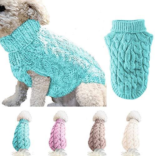 Ponacat Haustier Pullover Hund Rollkragenpullover Strickpullover warme Pullover Strickwaren Outwear kaltes Wetter Mäntel (blau/XL)