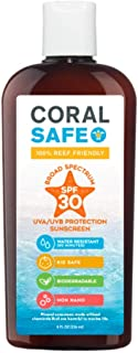 Coral Safe All Natural Biodegradable Sunscreen, SPF 30, Reef Safe, Water Resistant, Approved for Snorkeling and Scuba Divi...