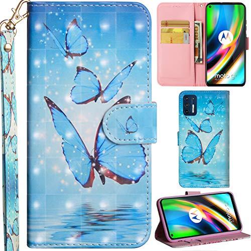 C/N DodoBuy Hülle für Motorola Moto G9 Plus, 3D Flip PU Leder Schutzhülle Handy Tasche Wallet Hülle Cover Ständer mit Trageschlaufe Magnetverschluss - Blau Schmetterling