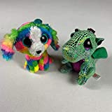 Lot of 2 Plush TY Beanie Boos Lola Rainbow Dog Cinder Dragon Shiny Kids Toy Play