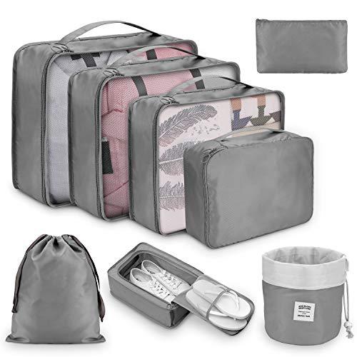 Koffer Organizer Set 8-teilig, kleidertaschen für Kleidung Kosmetik Schuhbeutel Kabel Aufbewahrungstasche, Reisen Organizer Tasche,Grau