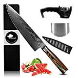 MYVIT Chef's Knife Damascus Kitchen Knife Slicing Carving Knife Japanese Steel 8 inch Cooking Sushi...
