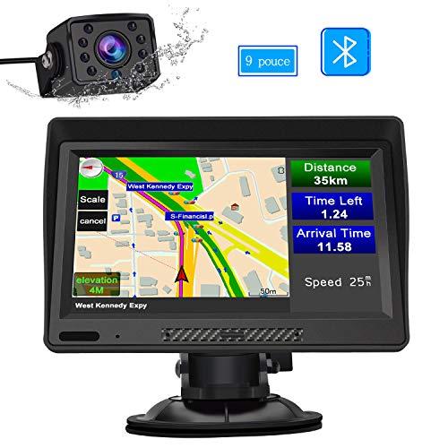 AWESAFE GPS Navigation Auto Écran Tactile de 9 Pouces Carte Intégrée de 48 Pays Européens Fonction Bluetooth AVCE Caméra de recul Pare-Soleil