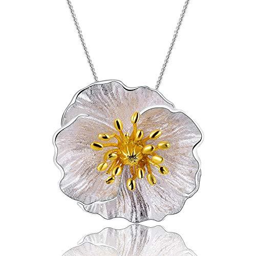 Lotus Fun S925 Sterling Silber Anhänger Blühende Mohn Blume Anhänger für Frauen und Mädchen, Kreativ Natürlicher Handgemachter Einzigartiger Schmuck