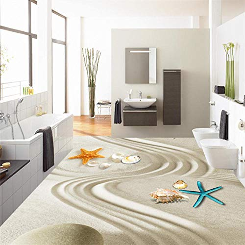 ZJfong 3D-grondverf, vloerverf, waterdicht, badkamer, keuken, balkon, zelfklevend, decoratieve vloerstickers 420 x 260 cm.