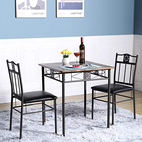 VECELO 3-Piece Dining Room Wooden Kitchen Table and Pu Cushion Chair Sets for Small Space, Retro Brown