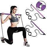FBSPORT Kit Barra Portatile per Pilates con Fascia di Resistenza Esercizio Yoga Bastone per Pilates con Anello per Il Piede per Allenamento Total Body,Asta Yoga,Fitness,Elasticità,Scultura
