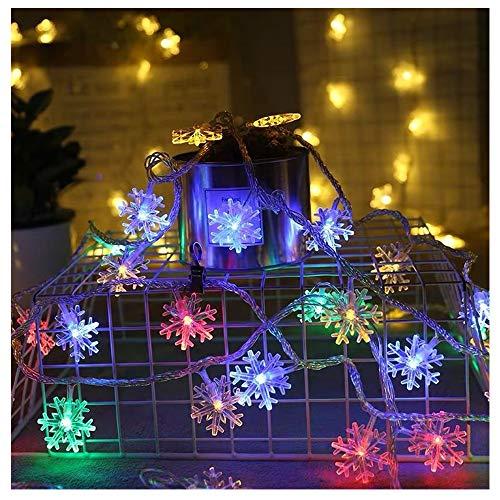 FLYM Nieve Luces De Colores, 10M 80 Luces LED Monocromo con Pilas, Luces De Cadena De Cristal Cortina A Prueba De Agua para La Decoración De Navidad, Decoración Brillante para Interiores Y Exteriores