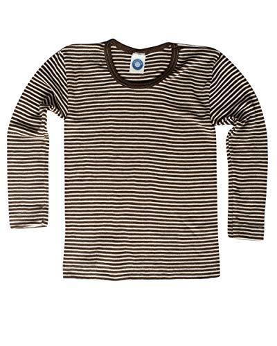Cosilana Camisa para niños – Jersey – Camiseta de manga larga de lana virgen de kbT y seda De color marrón natural. 140