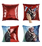Bernie Sanders Hugging Cat Happy_MA0795 Pillow Cover Sequin Mermaid Flip Reversible Scales Meme Emoji Actor Girls Boys Couch Office Sofa (Cover Only)
