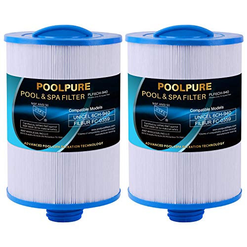 """POOLPURE Replacement for Spa Filter PWW50P3(1 1/2"""" Coarse Thread), Unicel 6CH-940, 817-0050, Filbur FC-0359, 25252, 03FIL1400, Waterway Front Access Skimmer, Screw in SAE Thread Filter, 2 Pack"""