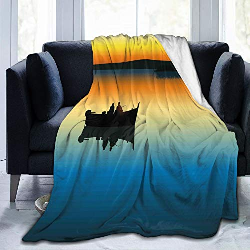 HUAYEXI Manta de Franela Suave,Amigos en el Tranquilo Lago Tranquilo en la épica Puesta de Sol pescando Amigos Varones Lazos de Amistad,Cama de Camping para sofá 204x153cm