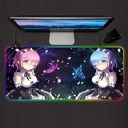 ZHIIBAN Re Zero Anime Girl Gaming Mouse Pad RGB Grande Gamer Lock Mausepads Luz de fondo LED XXL Ordenador Oficina Teclado Escritorio Mat (Tamaño: 90 x 40 cm)