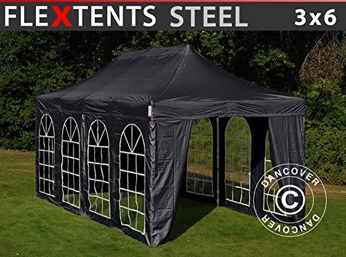Dancover Faltzelt Faltpavillon Wasserdicht FleXtents Steel 3x6m Schwarz, mit 4 Seitenwänden
