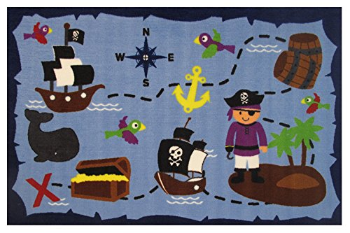 "Kids Pirates Life In the Ocean Rugs for Playroom, Nursery Rooms, 39""x58"" size"
