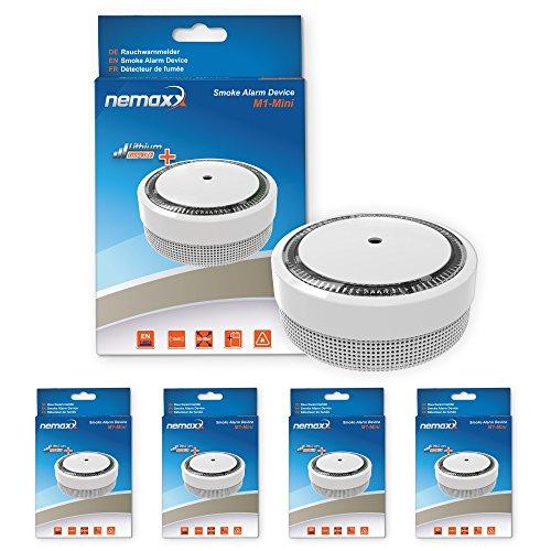 4X Nemaxx M1-Mini Rauchmelder - sensibler, photoelektrischer Rauchwarnmelder mit Lithiumbatterie Typ DC3V nach DIN EN14604 & VDs - weiß