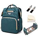 Aorika Diaper Bag Bassinet, Portable Travel 3 in 1 Large Diaper Bag Backpack Crib, Waterproof Foldable Baby Bed Changing Station with Mattress(Green)