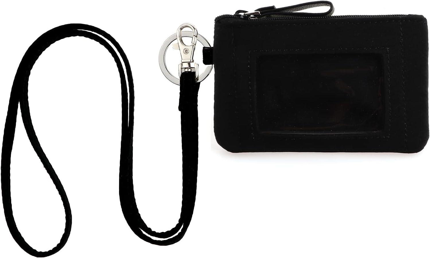 DONGGANGAJI Classic Black Lanyard with Zip ID Case, Fashion Lanyard Wallet, ID Case Wallet with Lanyard,lanyards with wallet (Black-C)