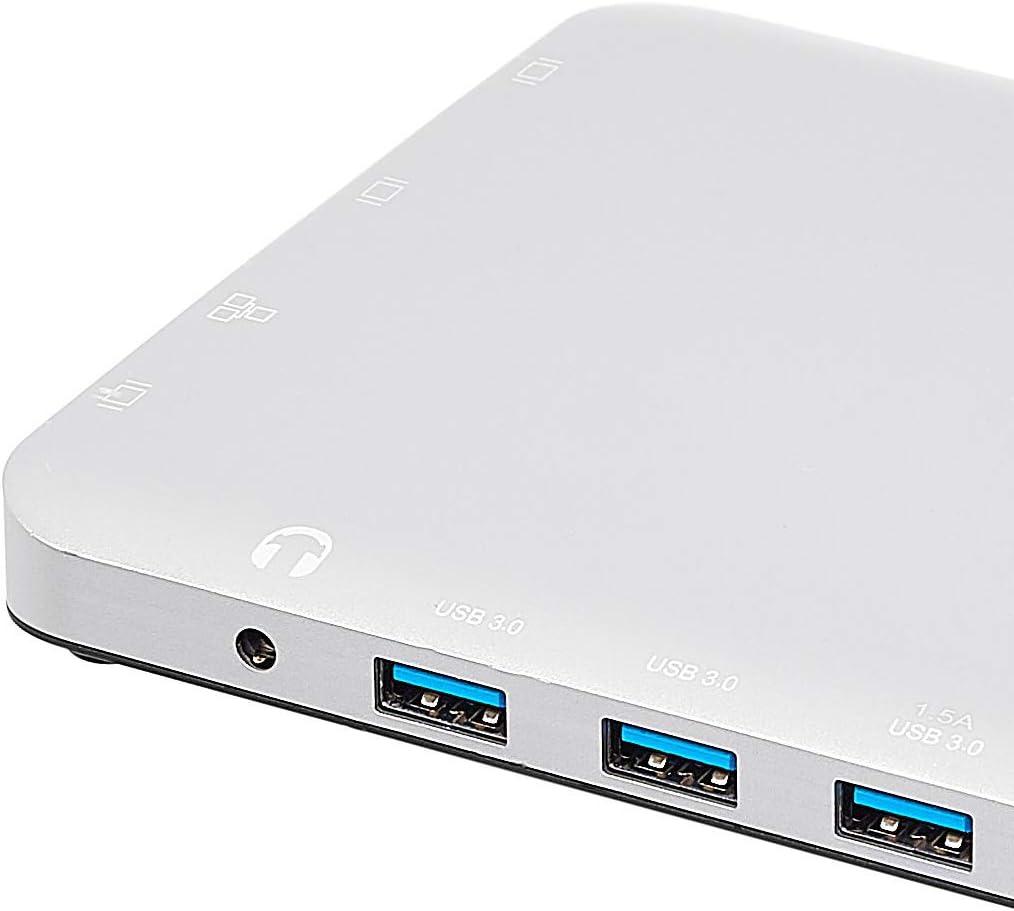 3 USB-A Ethernet cuadrada PD 100/W Basics gris HDMI VGA lector de tarjetas SD//TF audio y puerto de carga tipo C Estaci/ón de acoplamiento tipo C de aluminio con Mini DisplayPort