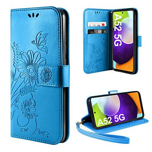 ivencase Handyhülle Kompatibel mit Samsung Galaxy A52 5G Hülle Flip Lederhülle, Handyhülle Book Case PU Leder Tasche Case und Magnet Kartenfach Schutzhülle - Blau