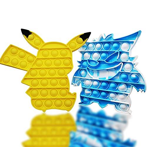 Popits Pas Cher, Pop-It Fidget Toys, 2 Packs Poppit Jeux pour Anti Stress Enfant ou Adulte, Pop Pokémon Simple Popit Bubble Poppers Objet Satisfaisant, Pop -It Pack est Cadeau Parfait