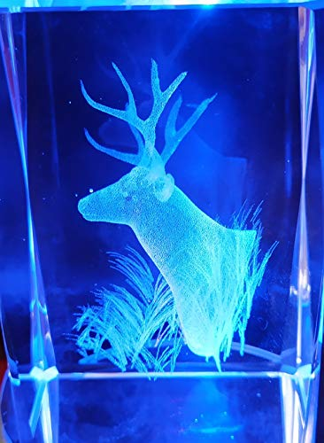 Générique Cube 3D Laser Cristal Motif Tête De Cerf avec Socle Lumineux LEDs à Piles