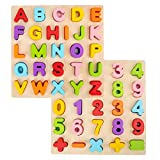 wood alphabet - Alphabet Puzzle, WOOD CITY ABC Letter & Number Puzzles for Toddlers 1 2 3 Years Old, Preschool Learning Toys for Kids, Educational Name Puzzle Gift for Boys and Girls