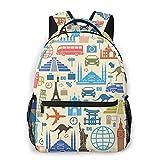 AOOEDM Cartoon Landmark of Different Nations Mochila informal de moda, bolsa de viaje liviana, mochila para computadora portátil, mochila escolar duradera y de gran capacidad, la bolsa de deportes a
