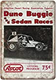 JOHUA Cartel de metal de Ascot Dune Buggie and Sedan Races de estaño cartel de advertencia vintage cartel de metal para garaje, casa, cafetería, oficina, decoración de pared