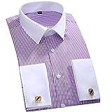 Camisa De Vestir A Rayas con Puños Franceses Clásicos para Hombre Camisas De Boda De Manga Larga De Ajuste Estándar con Bolsillo De Parche Único L Fs12